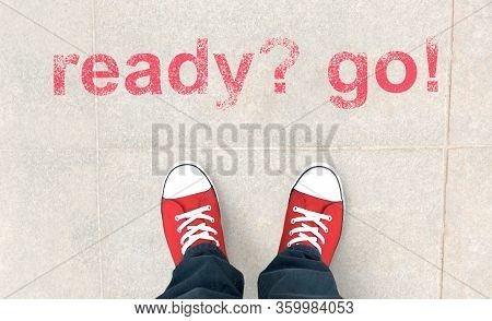 Creative Collage Of Person In Red Sneakers Ready To Move Forward, Deciding To Go, Planning To Make T
