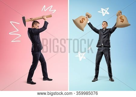 Businessman Holding Sledge Hammer Up On Pink Background And Businessman With Two Big Money Bags In B