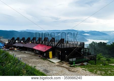 Piatra Neamt, Romania - June 22, 2019: The Viewpoint From Pietricica Mount To Piatra Neamt Town. Res