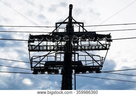 Metal Construction, The Machine Of A Pillar For Gondola, Ski Lift Pillar.