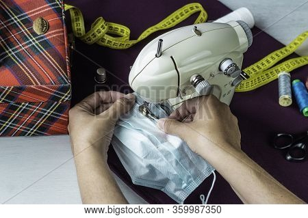 Female Hands Sewing Homemade Surgical Masks  Conceptual Health Emergency, Action In The Absence Of P
