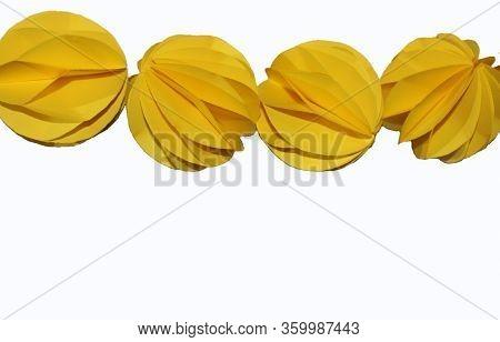Origami Paper Garland. Origami Heart, Origami Ball.
