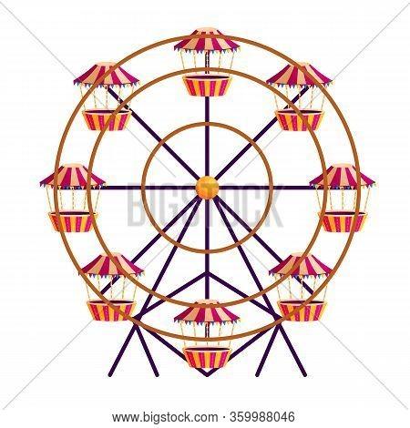 Traditional Circus Rotating Attraction Flat Vector Illustration. Ferris Wheel. Amusement Park. Festi