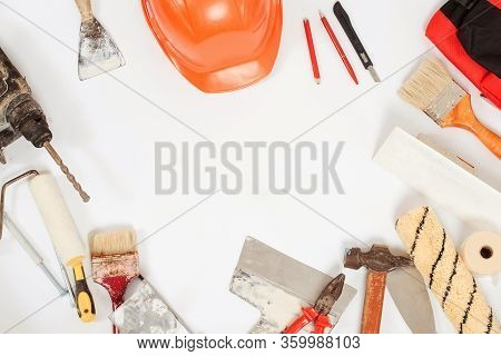Construction Tools. Home And House Renovation Background. Set Of Dirty Buider Tools. Handyman Equipm