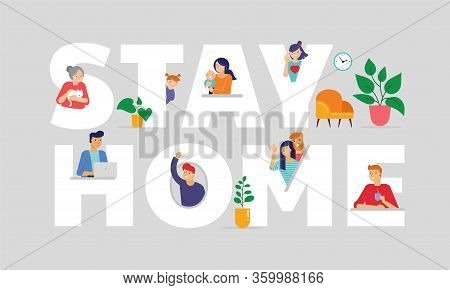 Stay At Home, Concept Design. Different Types Of People Look Out And Communicate With Their Neighbor