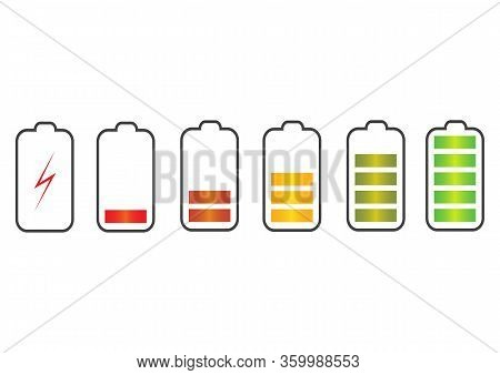 Vector Illustration. Battery Charge State Indicator Icons. Set With Different Levels Of Charge Phone