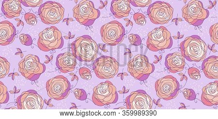 Decorative Abstract Lush Flowers Seamless Pattern For Background, Wrap, Fabric, Textile, Wrap, Surfa
