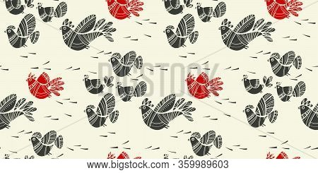Linocut Style Spring Birds Folk Vibes Seamless Pattern. Repeatable Peasant Traditional Color Motif F