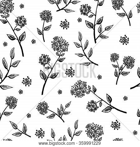 Delicate Twigs With Small Flowers. Vintage Seamless Pattern With Twig. Background For Eco Forest Aut