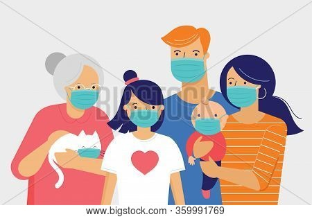 Family, Mother, Father, Baby And A Girl Wearing Medical Masks During Coronavirus Outbreak. Covid-19