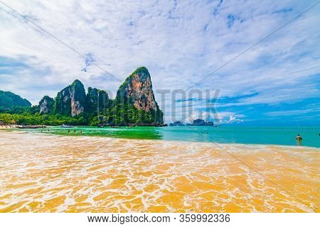 Panoramic View Of Railay Beach Krabi, Thailand. Beautiful Tropical Paradise With Fresh Blue Water, H