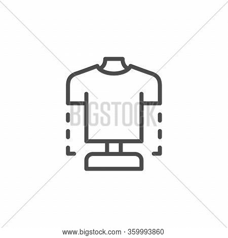 Clothing Design Line Outline Icon Isolated On White. Tailot Dummy, Mannequin And Model For Sewing, T