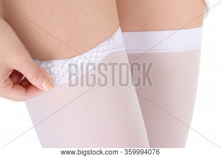 Medical Compression Stockings For Varicose Veins. Compression Knit Elastic, Silicone Drops, Silicone