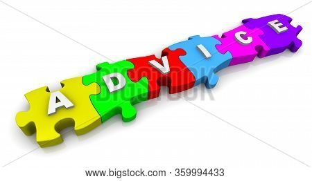 Advice. Word On The Multicolored Puzzles. The Word Advice Composed From Colorful Puzzles. Isolated.