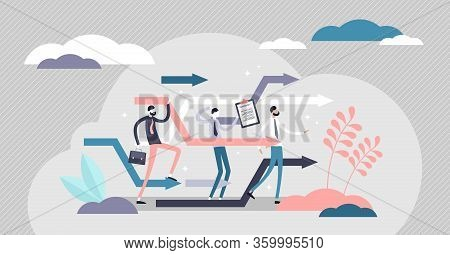 Business Reorganize Vector Illustration. Company Change In Flat Tiny Persons Concept. Progress And D