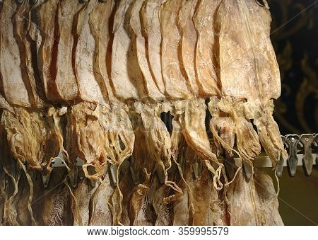 Dried Squid For Grilled Squid In Row Sale On Street Night Market. Bangkok, Thailand.