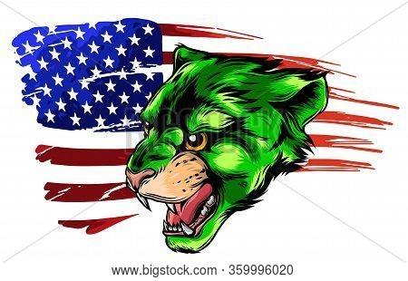 Angry Puma Head. Vector Illustration Design Art
