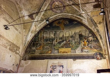 Verona, Italy - September 26, 2015 : Fresco Painted On The Wall Under The Ceiling In The Interior Of