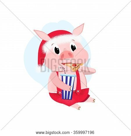 Fat Pig Eating Pizza With Cocktail. Junkfood, Obesity, Animal. Can Be Used For Topics Like New Year,