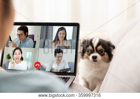 Back View Of Business Woman And Team On Laptop Screen Talking And Discussion In Video Conference And