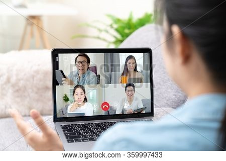 Group Of Young Happy Asian Work From Home Meeting Or Brainstorming Online Video Conference Applicati