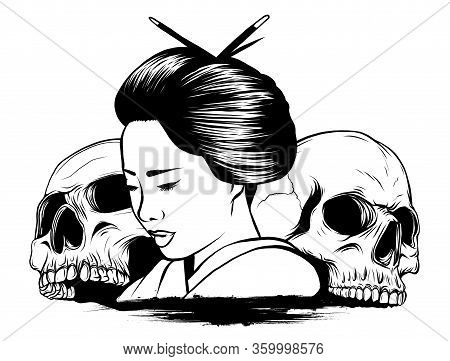 Vector Illustration Of Geisha Skull With Vintage Tattoo Design Style And Japan Traditional Kanji Wor