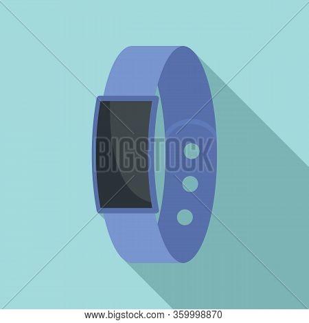 Pedometer Bracelet Icon. Flat Illustration Of Pedometer Bracelet Vector Icon For Web Design