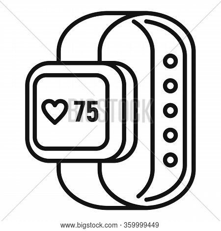 Heart Rate Smartwatch Icon. Outline Heart Rate Smartwatch Vector Icon For Web Design Isolated On Whi