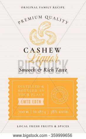 Family Recipe Cashew Nuts Liquor Acohol Label. Abstract Vector Packaging Design Layout. Modern Typog