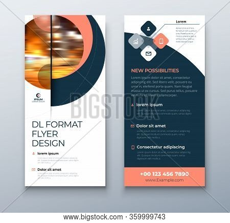 Dl Flyer Design. Coral Business Template For Dl Flyer. Layout With Modern Circle Photo And Abstract