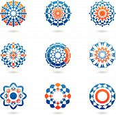 abstract colourful icons and ornaments isolated on a white background poster