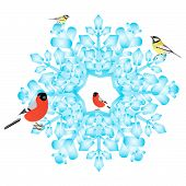 Bullfinch and tits are sitting on an abstract snowflake. Illustration on white background. poster