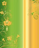 Green and gold vertical background pattern with intricate ornaments and floral arabesques vector illustration poster