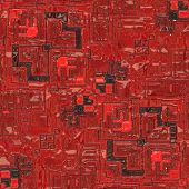 Computer generated illustration of integrated circuit board with red blocks poster