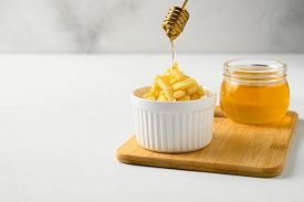 National Food Cuisine Of The Middle East. Poured Honey For Dessert Chak-chak. Horizontal Orientation