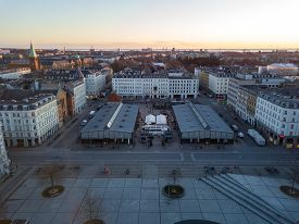 Copenhagen, Denmark - March 31, 2020: Aerial Drone View Of Torvehallerne, A Popular Modern Market Pl