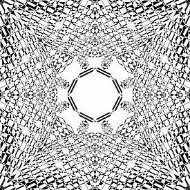 Abstract Arabesque Hexagon Developement Hive Perspective Design Black On Transparent Seamless Plaid