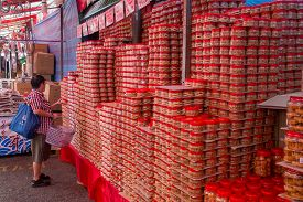 Singapore, Singapore - February 3, 2015: Piles Of Biscuits And Snacks At The Local Market In Chinato