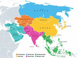 Main Regions Of Asia. Political Map With Single Countries. Colored Subregions Of The Asian Continent