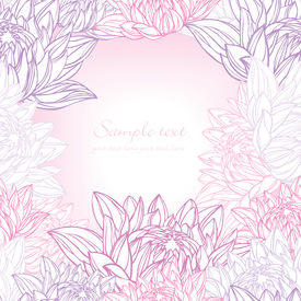 Hand Drawn Lily Frame Floral