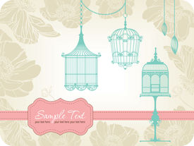 Vintage Card With Birdcages