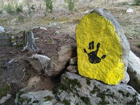 Imprint Of Human Hand On The Stone, South Bohemia, Czech Republic