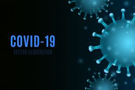 Virus On A Blue Background. 3d Glowing Corona Microbe. Medical Concept. Vector Illustration. Eps 10