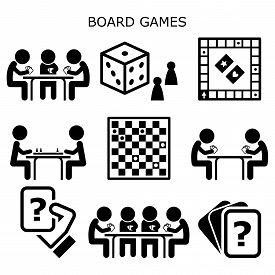 Board Games, People Playing Chess Or Draughts At The Table Vector Icons Set, Fun Activity While Stay