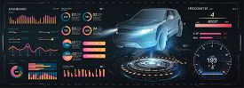 Car Service In The Style Of Hud, Cars Infographic Ui, Analysis And Diagnostics In Hud Style, Futuris