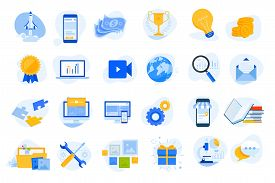 Flat Design Concept Icons Collection. Vector Illustrations For Startup, Graphic And Web Design And D