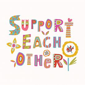 Support Each Other Corona Virus Motivation Poster. Social Media Covid 19 Infographic. Together We Wi