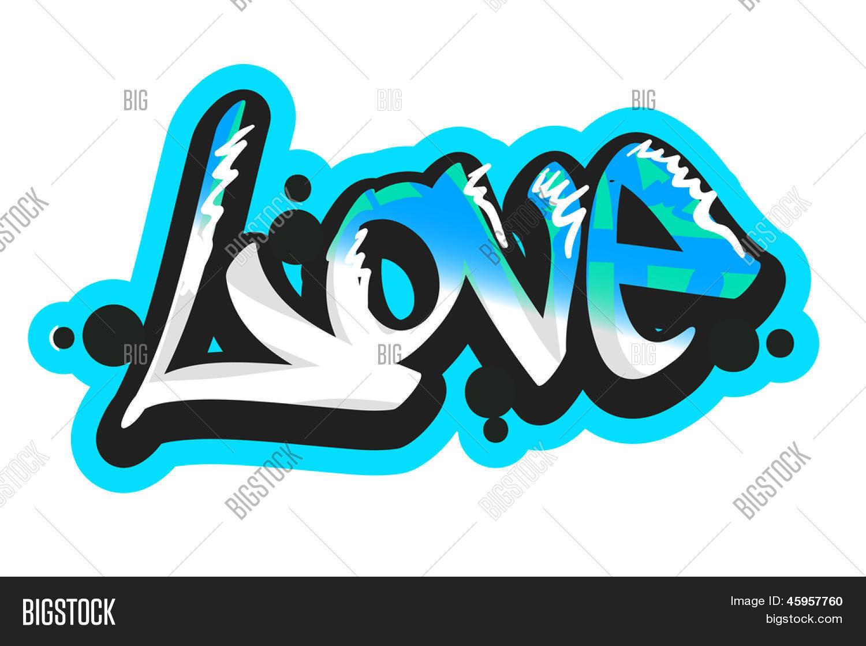 Graffiti vector art urban design element love word create a lightbox
