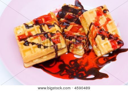 Belgian Wafers With Strawberry And Cholocate Syrup