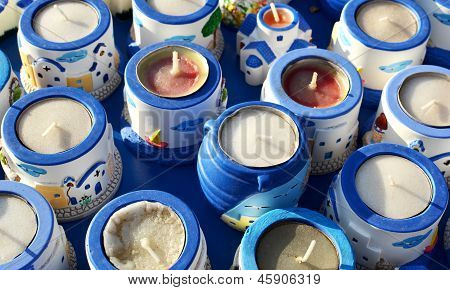 Souvenir waxine candles.